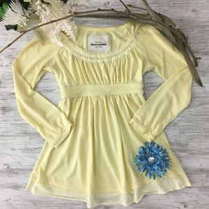 Abercrombie Yellow Babydoll Top pleated Long Slv L